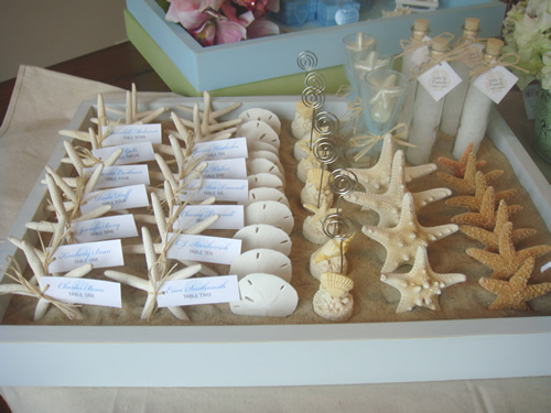 Beach theme wedding ideas the king and prince blog sand tray wedding place cards junglespirit Image collections