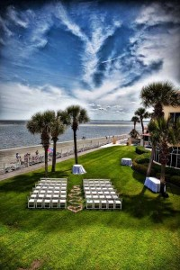 chairs set up on the oceanfront lawn