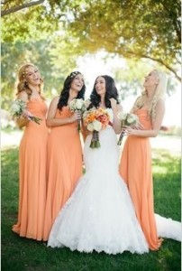 Pale Orange Bridesmaid Dresses