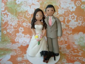 Bride and Groom with Dog Cake Topper