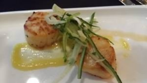 Seared Scallops with Fennel Slaw and Lemon Curd