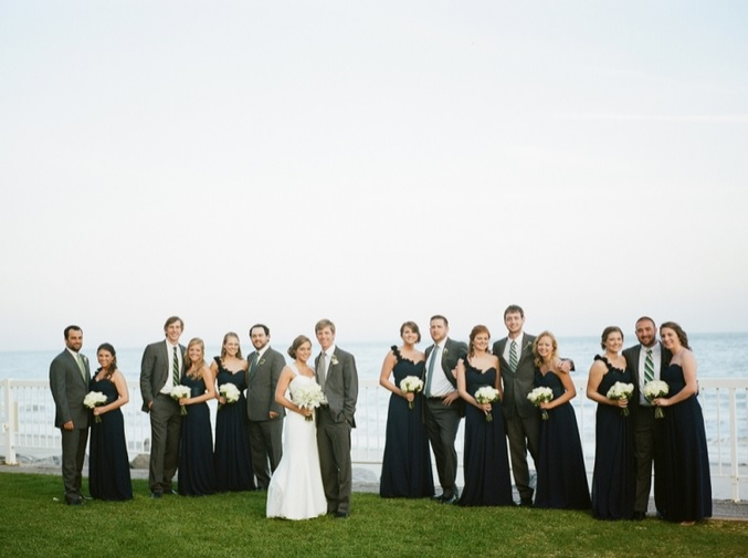 Oceanfront Wedding Party Photo