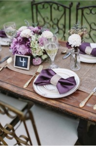 purple wedding table setting