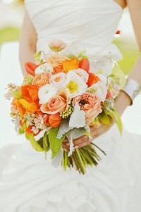 tangerine wedding bouquet