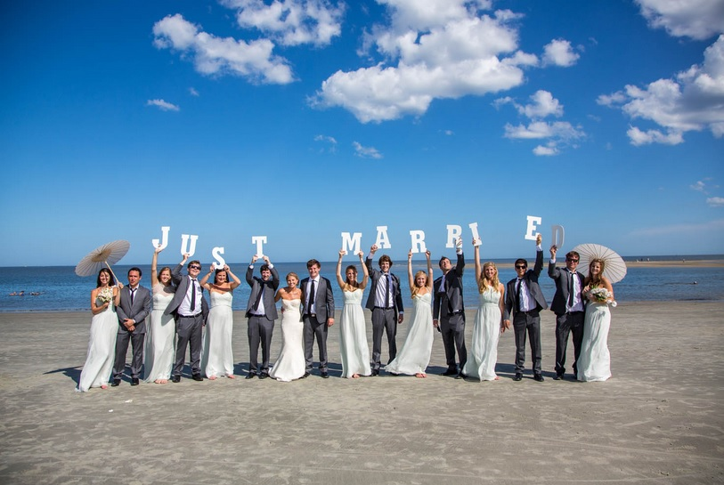 Just Married sign on St. Simons Island beach