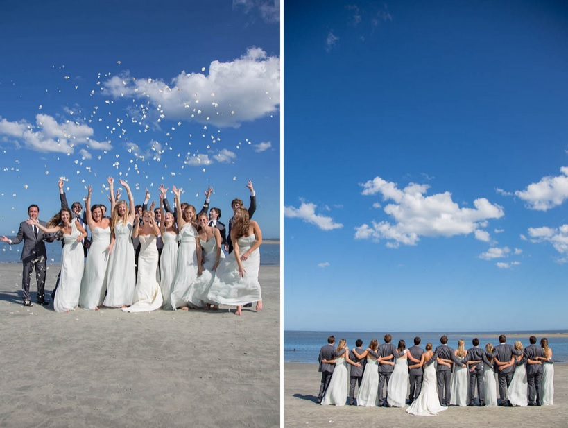 Bridal party with confetti on beach