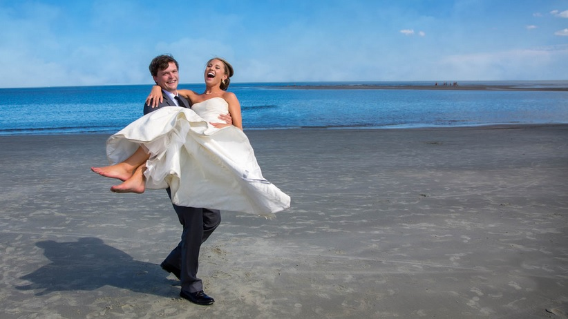 Bride and groom on St. Simons Island beach