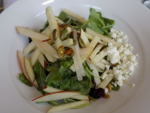 Fall Arugula Salad, Roasted Shallot Vinaigrette