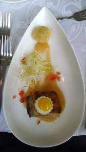 Confit Pork Belly, Frisee, Jalapeno Corn Muffin, Fried Quail Egg, Apple Butter