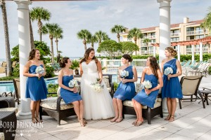 Bridesmaids and Bride on Pool Deck