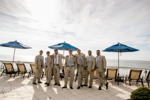 Groomsmen and Groom on Pool Deck