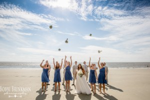 Bridesmaids and Bride on Beach