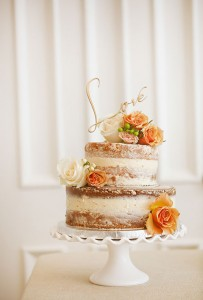 Naked Wedding Cake with Roses
