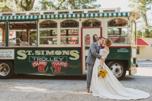 St. Simons Island Trolley Wedding