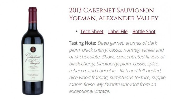 Cabernet Sauvignon from Goldschmidt Vineyard