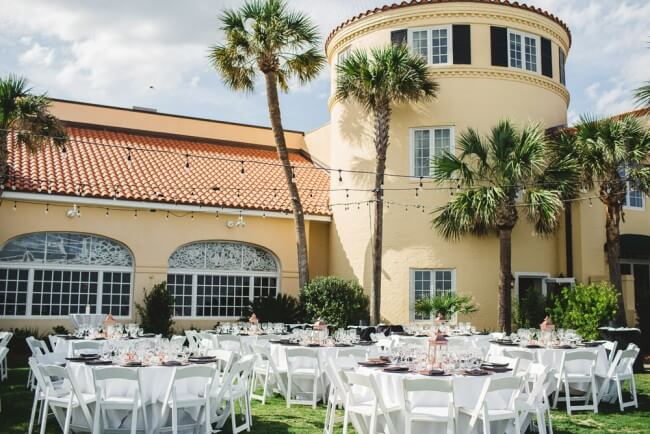 Wedding Reception on Oceanfront Lawn
