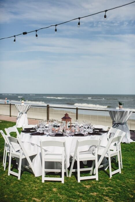 Table Setting on Oceanfront Lawn