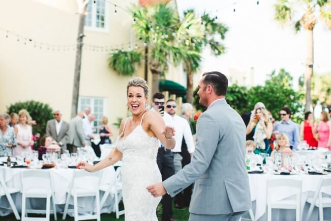 Bride and Groom Dancing Outdoor Reception