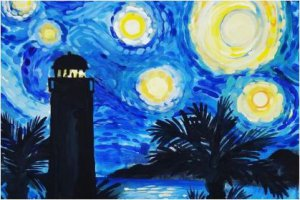 Starry Night Lighthouse Painting