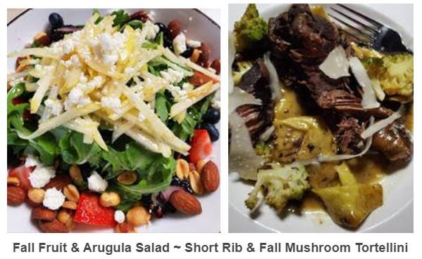 Fall Fruit and Arugula Salad and Short Rib Mushroom Tortellini